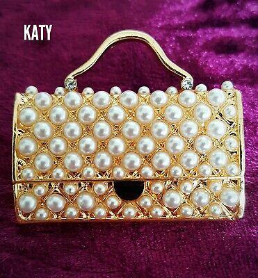 Vintage Style Gold Handbag Purse Bag Faux Pearl Broach Crystal Enamel BROOCH Pin