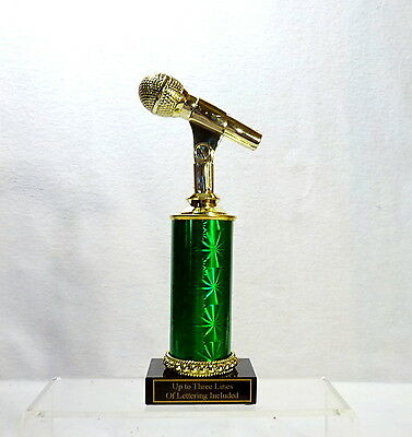 MICROPHONE TROPHY KARAOKE MUSIC  BLACK MARBLE BASE #3 FOUR COLORS - Microphone Trophies