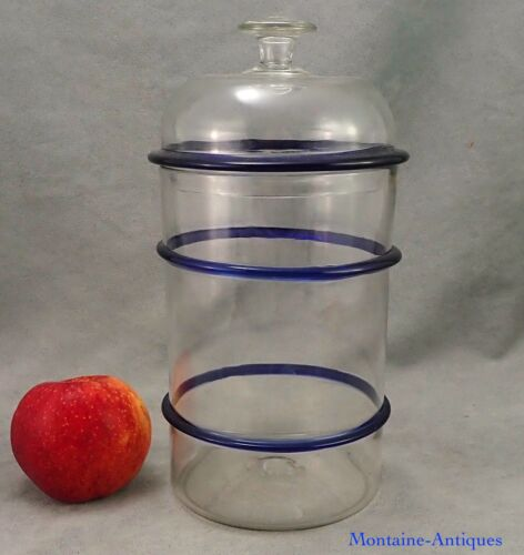 Blown Glass Sweetmeat Jar with Cobalt Rings. 19th cent.