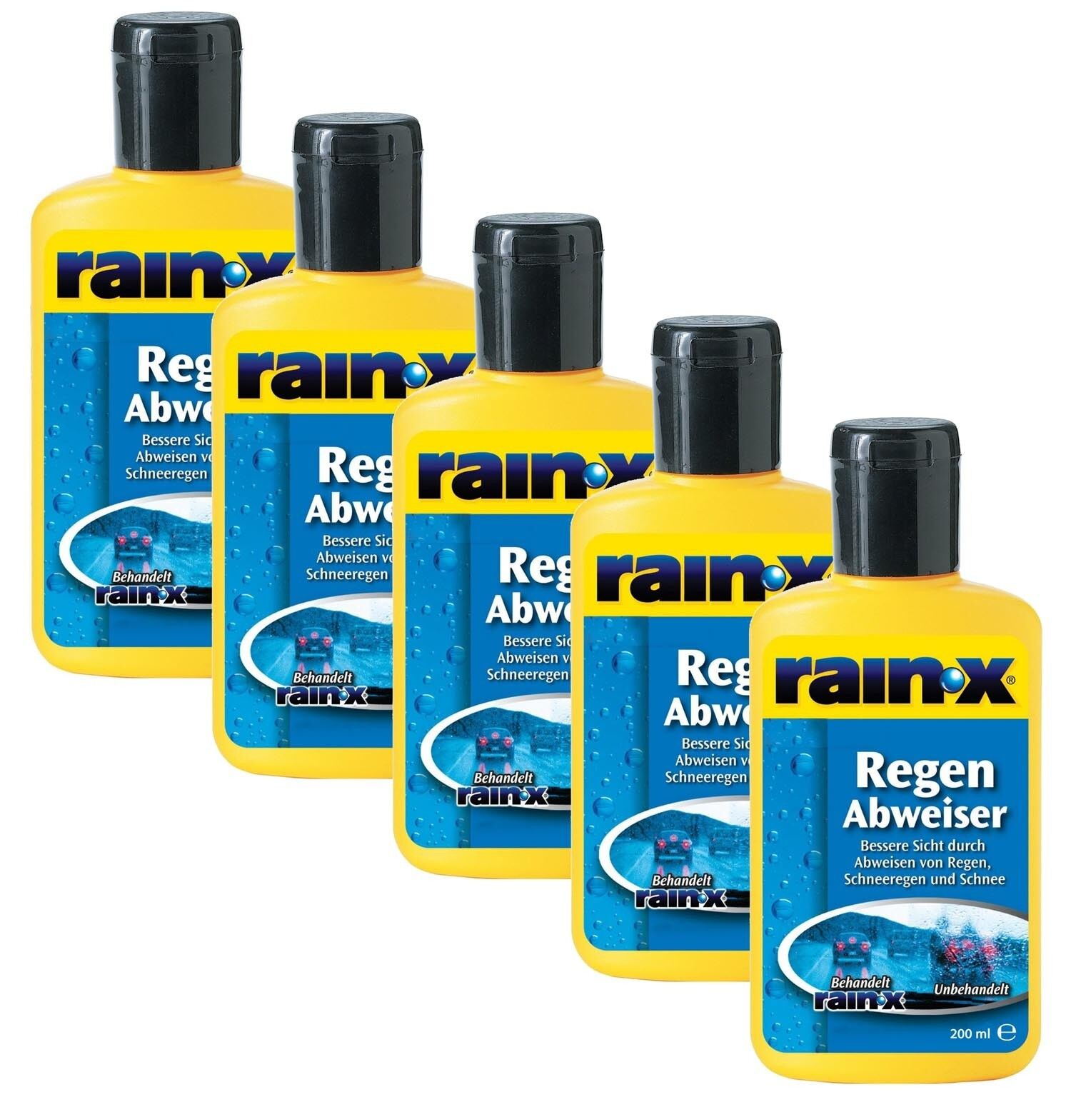 5x RAIN X DEFLETTORE PIOGGIA 200ML AUTO pulizia finestrini DETERGENTE PER VETRI