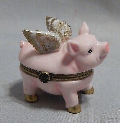 Department 56 Winged Pig Porcelain Trinket Box