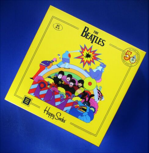 NEW BEATLES HAPPY SOCKS 3- PACK YELLOW SUBMARINE LIMITED EDITION 50 ANNIVERSARY