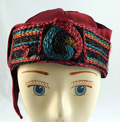 Vintage Art Deco Red Silk Chain Stitch Embroidery Trim Flapper Cloche Hat Cap (Flappers Hats)
