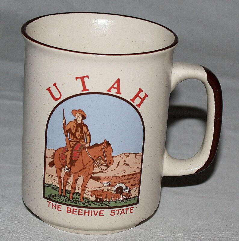 Utah Mug Speckled Cream Brown Beehive State