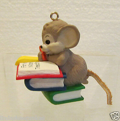 1989 Hallmark ornament TEACHER mouse Dated words on book upside down QX4125 - Mouse Dated Ornament