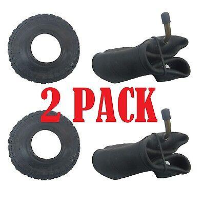 2 PACK Tyre & Innertube BENT VALVE (4.10 /3.50 - 4) Sack Truck Trolley Wheel