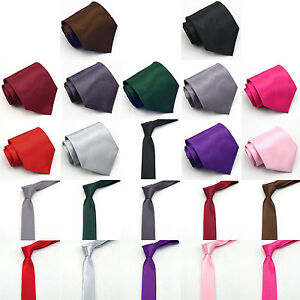 11-Colours-2-Sizes-New-Men-Boy-Plain-Solid-Quality-Necktie-Tie-Formal-Party-UK