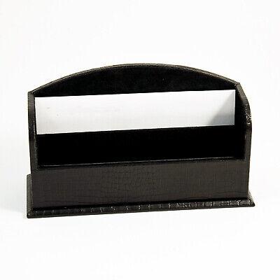 Desk Accessories - Greenwich Black Croco Leather Letter Rack