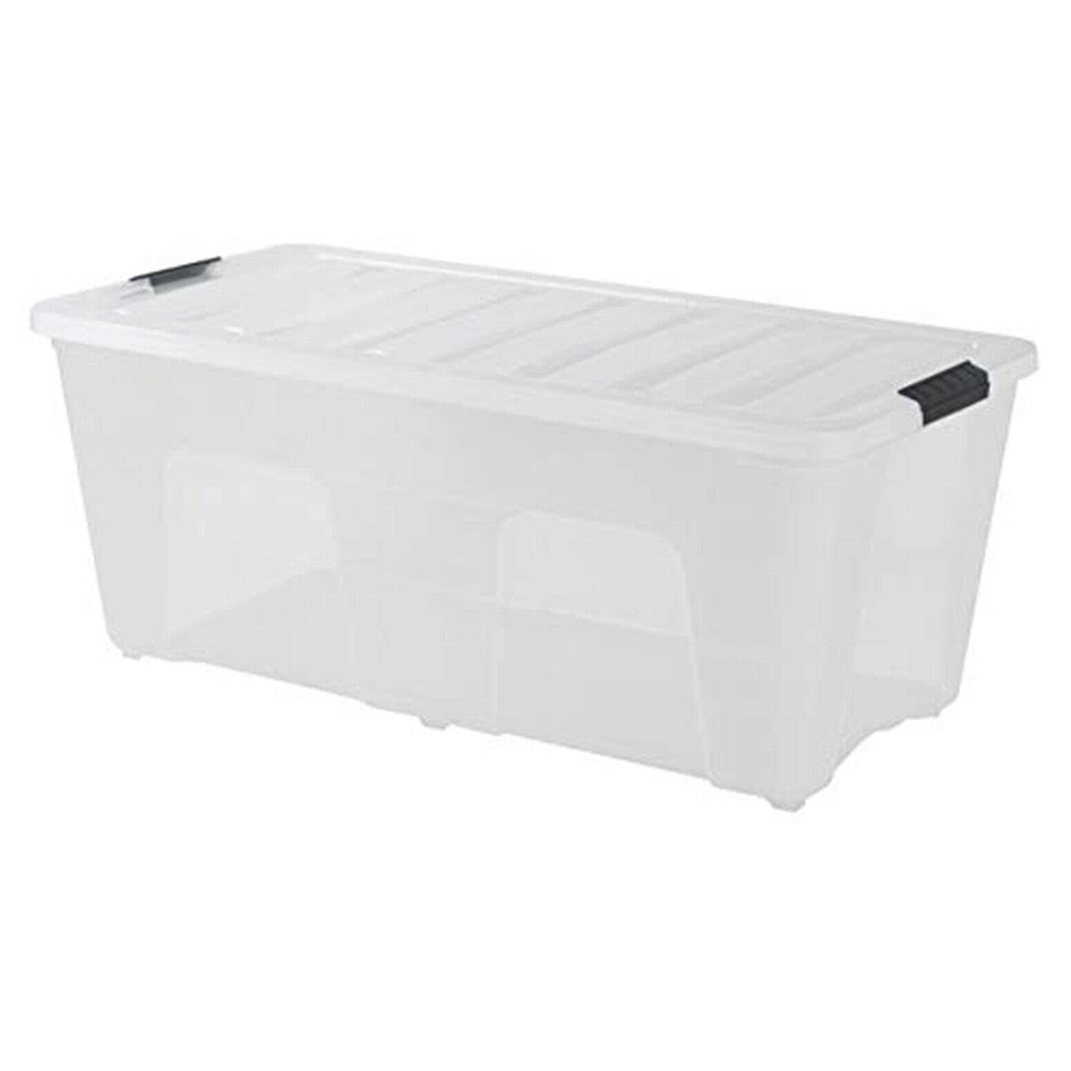 Large Plastic Storage Tote Container Clear Stackable Box Wit
