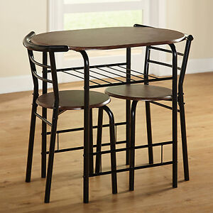 Bistro Table Set 3 Piece Indoor Dining Small Kitchen 2 Chairs Save Space Coffee