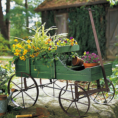 Garden Wagon Planter Outdoor Decor Flower Wood Wheelbarrow Home Yard Wheels New