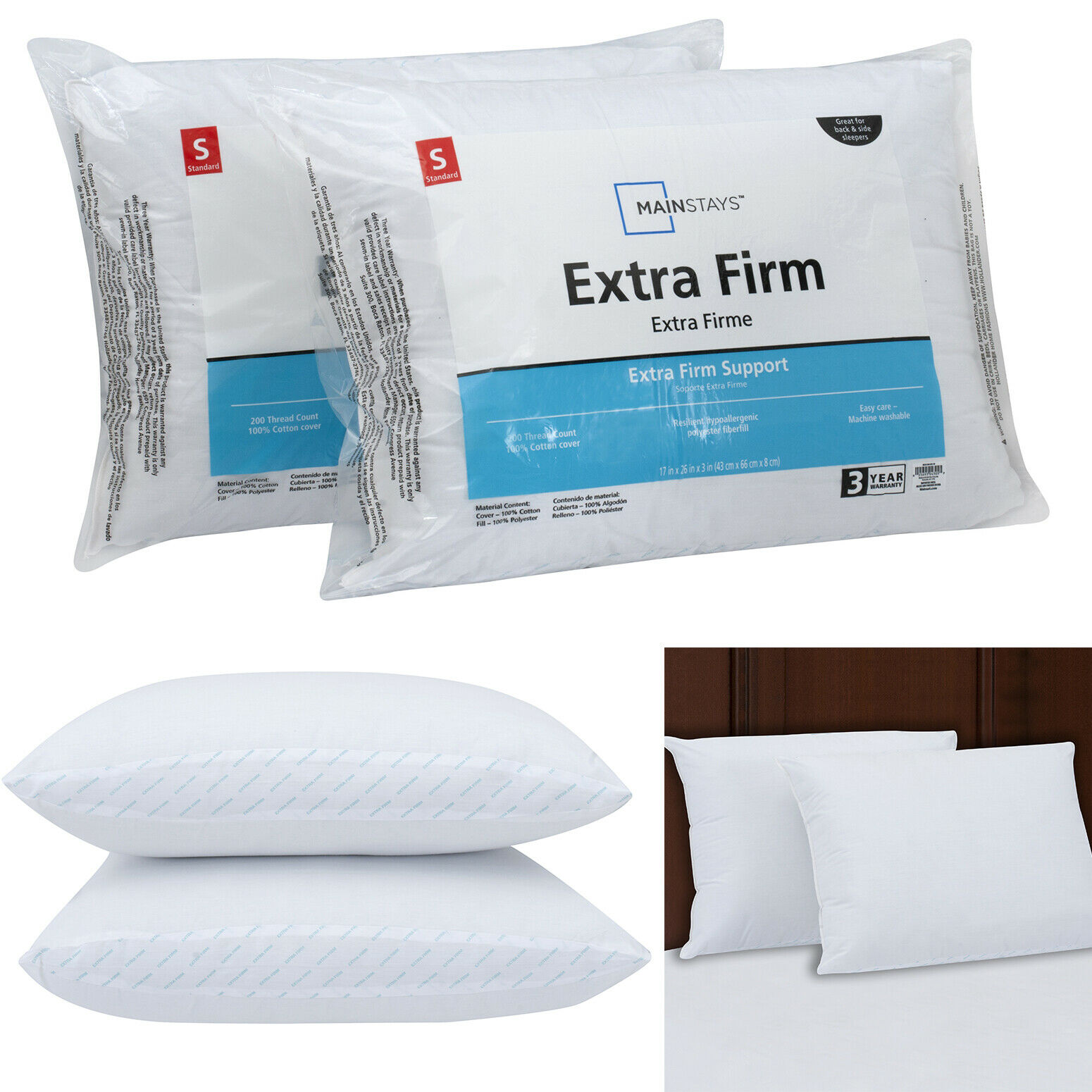 Standard Size Extra Firm Support Pillow 2-Pcs Bed Neck Head