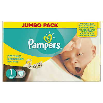 Pampers New Baby Size 1 Nappies Jumbo Pack of 72 Newborn Babies