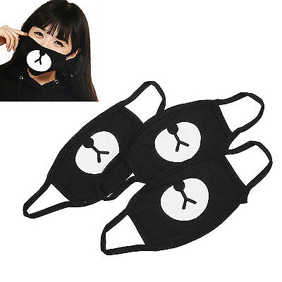 Black CUTE Bear Unisex Cotton Mouth Face Mask Respirator For Cycling Anti-Dust A - Bear Mask