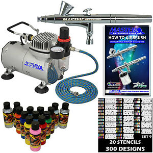 NAIL ART AIRBRUSH KIT-SET-Air Compressor-Paint-20pk Stencil Design Dual Action