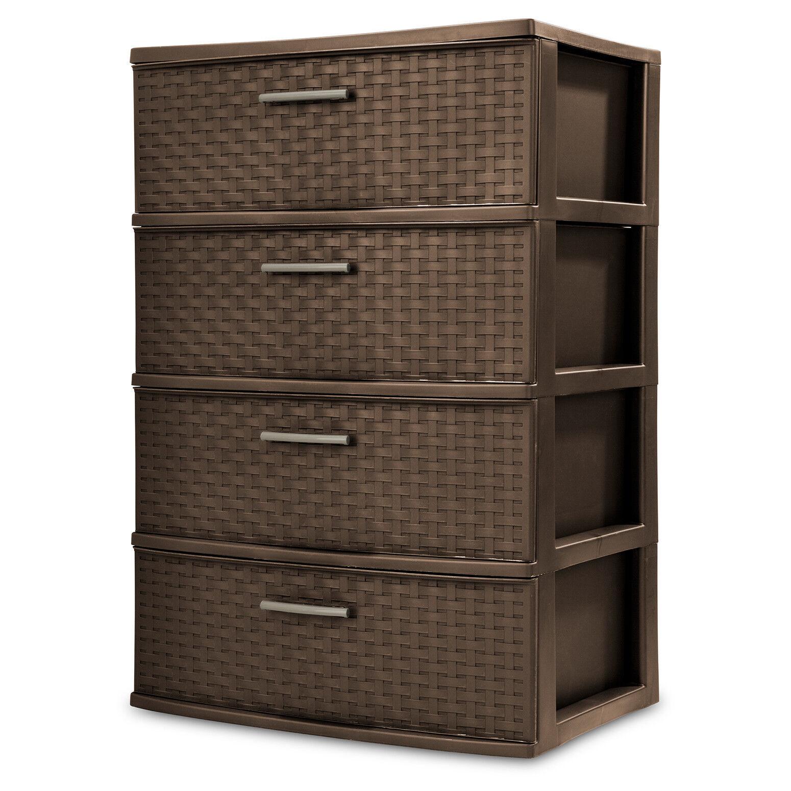 4 Drawer Organizer Wide Storage Cart Bin Container Set Of 2
