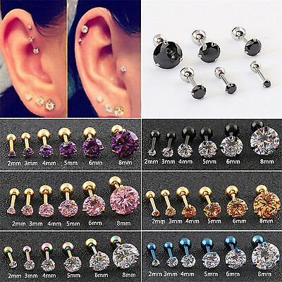 CHIC 2PCS Prong Tragus Cartilage Piercing Stud Earring Ear Ring Stainless Steel