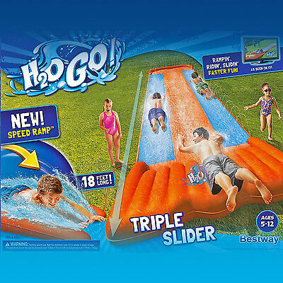 Triple Slider Slip N Slide Outdoor Inflatable Play Water Bounce Summer Fun Toy