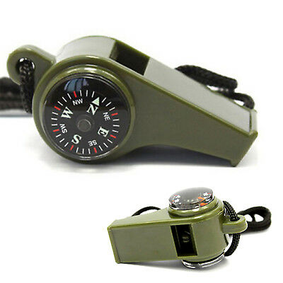 New 3 in1 Emergency Survival Gear Camping Hiking Whistle Compass Thermometer NT