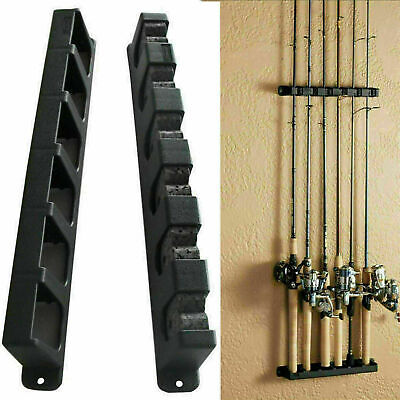 Vertical Fishing Rod Rack 6 Rods Holder Wall Mount Storage Pole Stand Durable