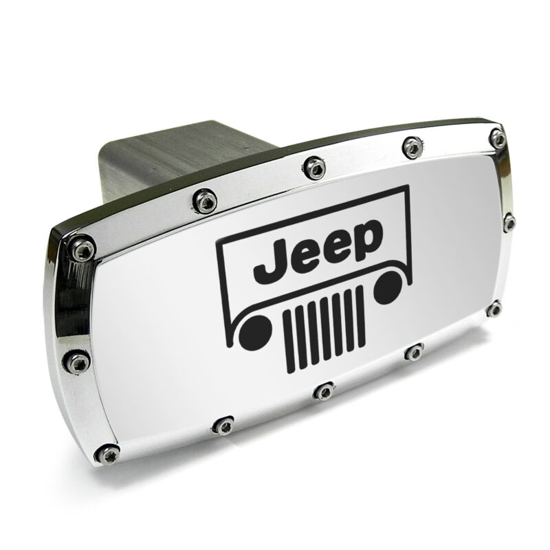 "Jeep Grille Logo Engraved Brush Billet Aluminum 2"" Tow Hitch Cover"