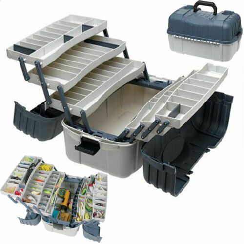 Large Fishing Tackle Box With 7 Tray Full Travel Holder Pack Handle-Locking New