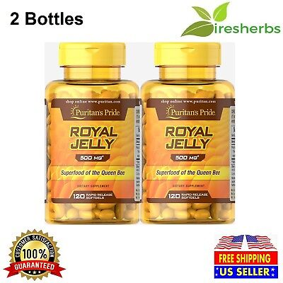 ROYAL JELLY 500MG QUEEN BEE SUPERFOOD IMMUNITY SUPPLEMENT 240 SOFTGELS 2 BOTTLES ()