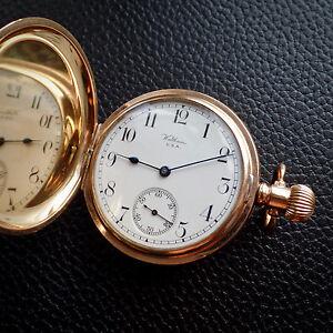 Waltham USA 1907 Full Hunter Star Regulator Dennison 9ct Gold gp Pocket Watch