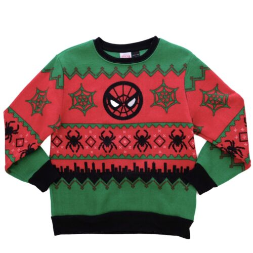 NEW MARVEL SPIDERMAN BOYS 10-12 LARGE UGLY CHRISTMAS PULLOVER SWEATER RED BLACK