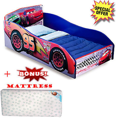 Toddler Bed Passionless Furniture With Mattress Disney Cars Kids Bedroom Race Car Boy