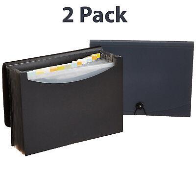 Document Storage Expanding 2 Pack File Folder Pockets Letter Size Organizer - Plastic Folders