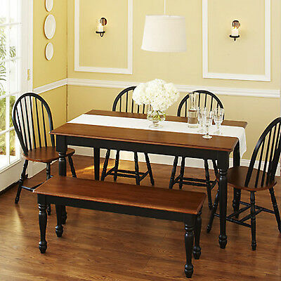 سفرة جديد Kitchen Dining Set 6-Piece Furniture Table Chairs Bench Room Black and Oak Wood