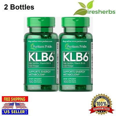 Lecithin B6 Vitamins (KLB6 KELP SOY LECITHIN VITAMIN B-6 CIDER VINEGAR ENERGY SUPPLEMENT 200)