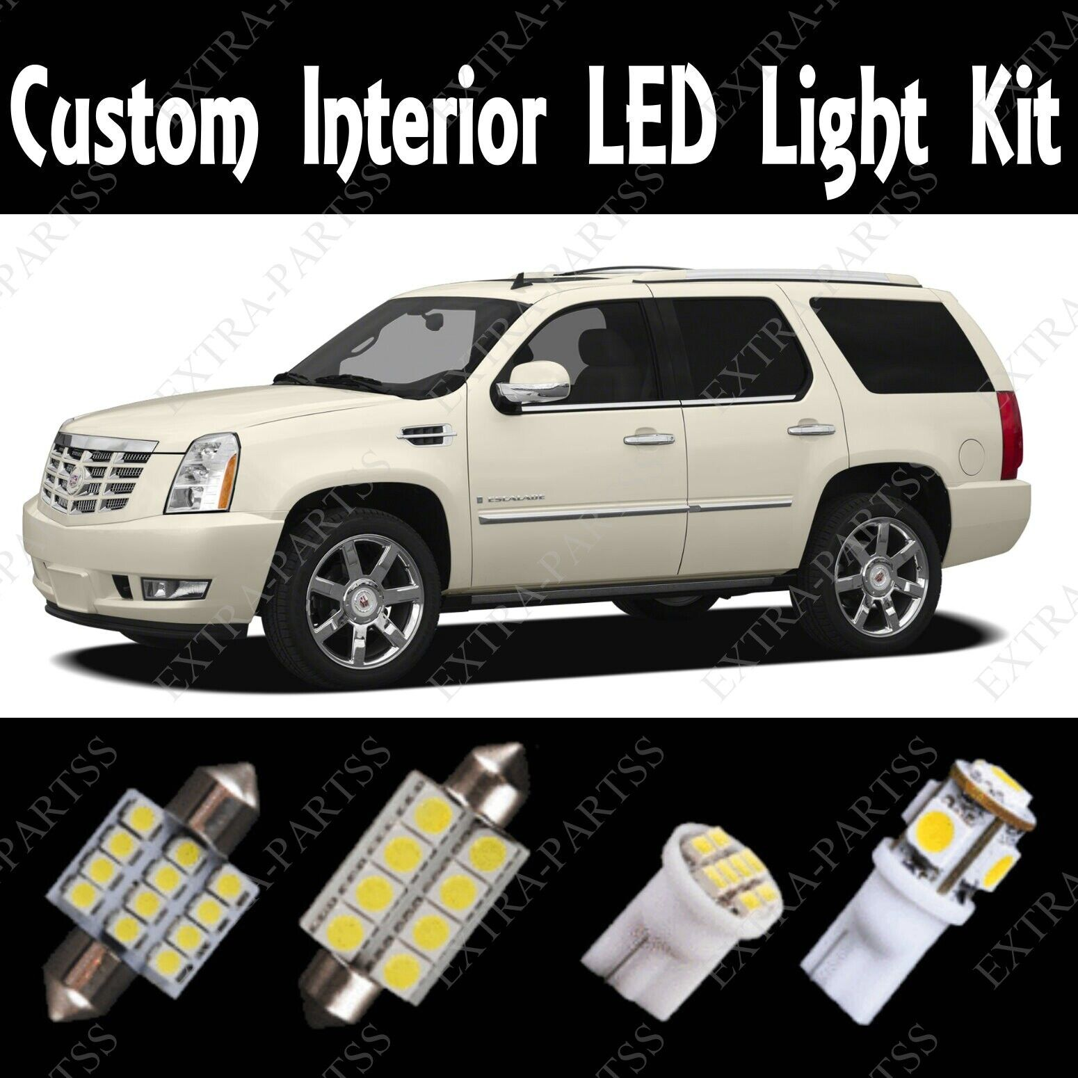 2014 Cadillac Escalade For Sale: 18 X White LED Light Bulbs Interior Package Kit 2007-2014 For Cadillac Escalade