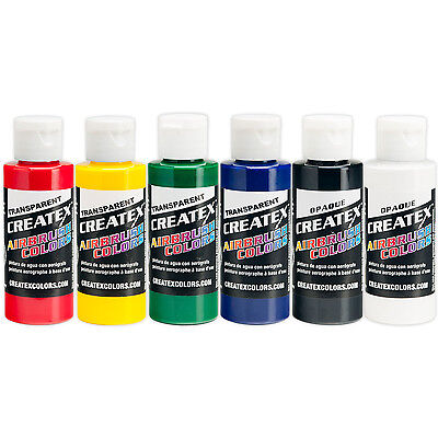 Createx Transparent Primary 6 2oz Colors Airbrush Paint Color Set 5801 - 00