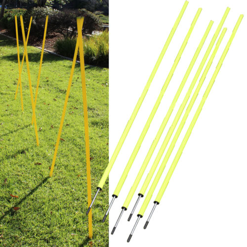 6 Agility Poles Portable Outdoor Training Markers Obstacle football soccer coach