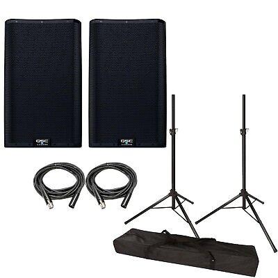 Qsc K12 2 Active 12  Loudspeaker Pair W  Speaker Stands And Cables K12 V2 Bundle
