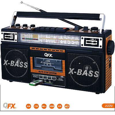 Retro Boom Box (Portable Retro Boombox Radio Recorder Player USB/SD/AUX Cassette MP3)
