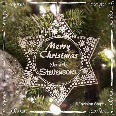 Personalized Custom Engraved Acrylic Snowflake Delight Christmas Ornament  - Acrylic Snowflakes