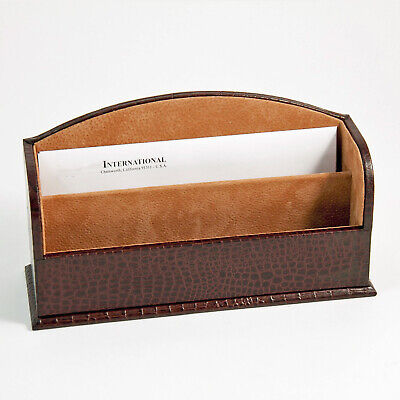 Desk Accessories - Greenwich Brown Croco Leather Letter Rack