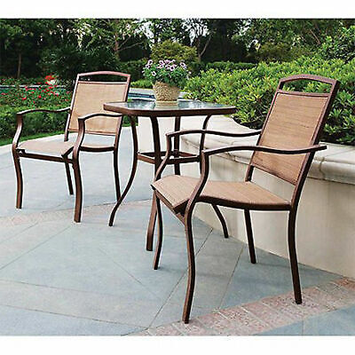 Patio Bistro Table And Chairs Set Outdoor Furniture 3-Piece Porch Deck Backyard ()