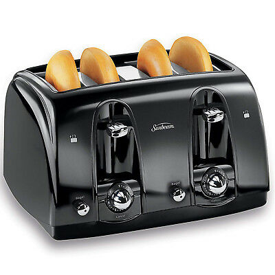 Stimulating Toaster 4 Slice Bread Four Wide Slots Bagel Kitchen Extra-wide Black
