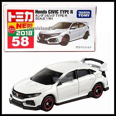 TOMICA 58 HONDA CIVIC TYPE R 1/64 TOMY 2018 JUNE NEW MODEL DIECAST CAR WHITE