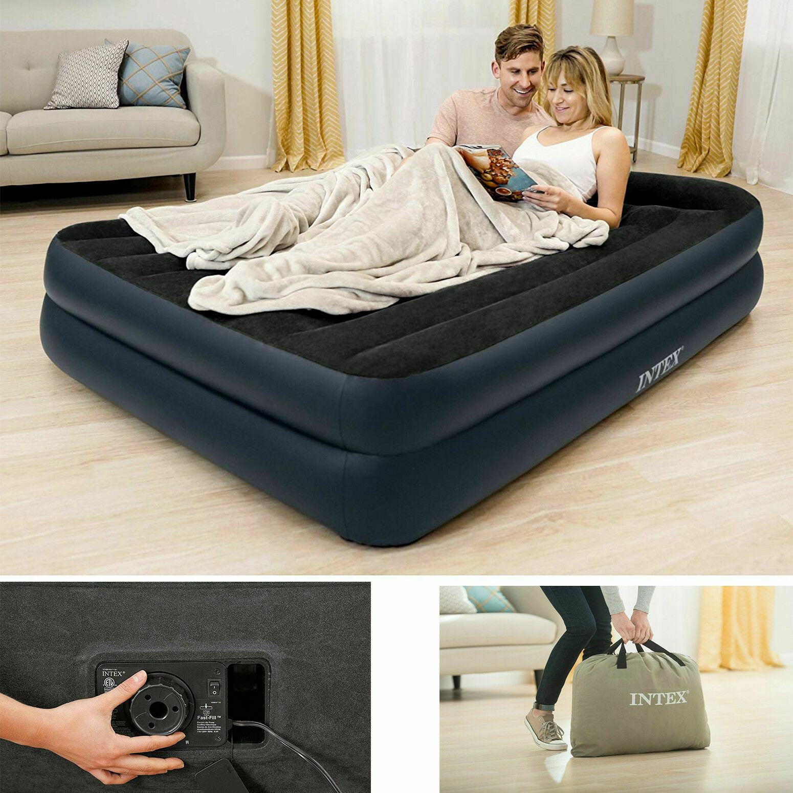 Intex 16-1/2 Inflatable Inch Dura-Beam Rising Comfort Fiber-