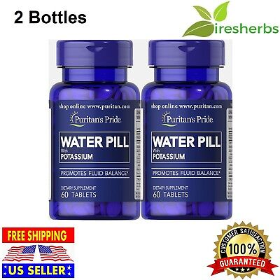 WATER PILLS WEIGHT CONTROL WATER RETENTION WITH POTASSIUM SUPPLEMENT 120 Tablets