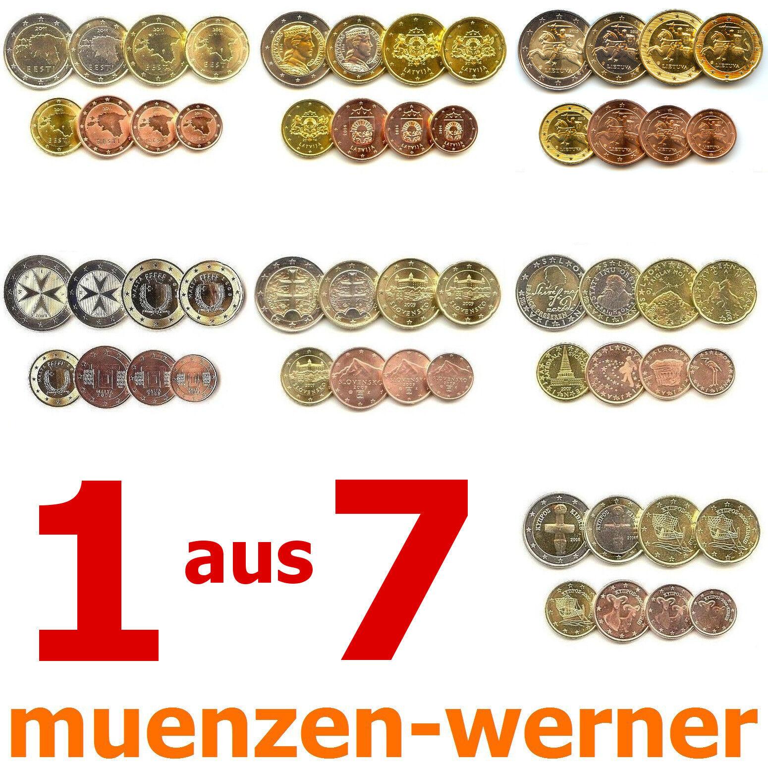 1 aus 7 KMS neue Euro•Münze•Länder Kursmünzen Satz 1c-2€ Eurosatz Münzensatz Set