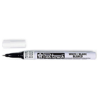 Sakura Pentouch Extra Fine Paint Marker 0.7mm point size WHITE 1ea, non - toxic