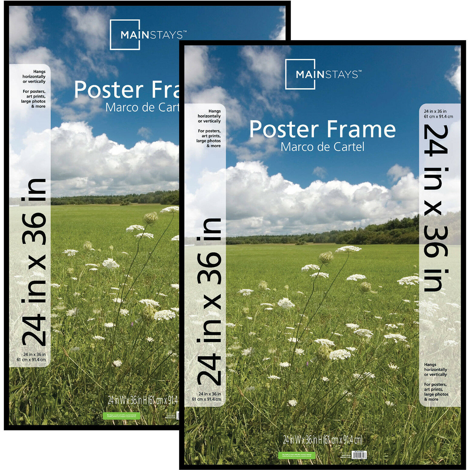 "Basic Poster Plastic Picture Frame 24"" x 36"" Rectangle Black"