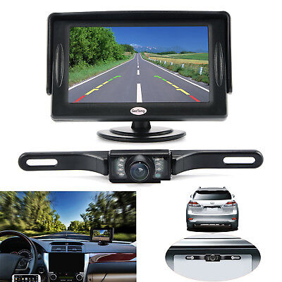 Universal Backup Camera System W  Lcd Monitor 4 3  Car Wired Waterproof Kit Rear
