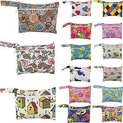 Wet Cloth - Cute Baby Nappy Reusable Washable Wet Dry Cloth Zipper Waterproof Diaper Bag HG